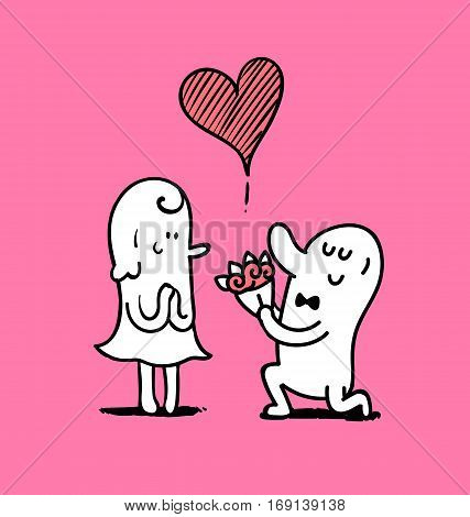 Man give a bouquet to woman in valentine day Doodle vector illustration.