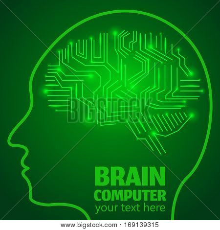 Human Brain Logo, Neurology Anatomical Conception.Silicon chips w synapses in shape of Cerebrum Cerebellum w text Brain computer on green luminous background.Brain Thought lights shines as Brain works