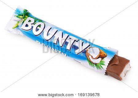 MOSCOW, RUSSIA - DECEMBER 22, 2012: Closeup of unwrapped Bounty candy chocolate bar made by Mars Inc. isolated on white background with clipping path