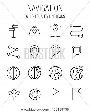 Set of navigation icons in modern thin line style. High quality black outline geography symbols for web site design and mobile apps. Simple navigation pictograms on a white background.