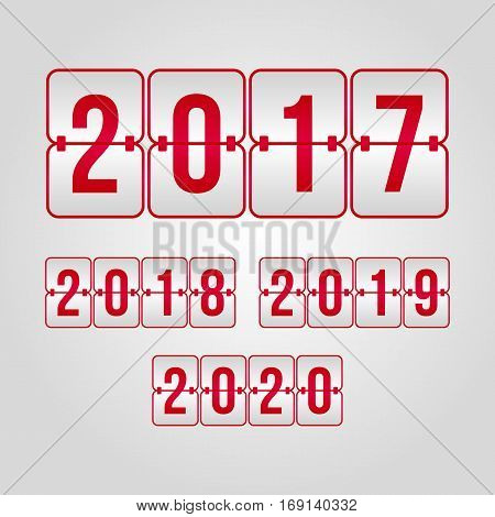 2017 2018 2019 2020 flip symbols set. Scoreboard red and grey gradient vector signs. Happy New Year illustration