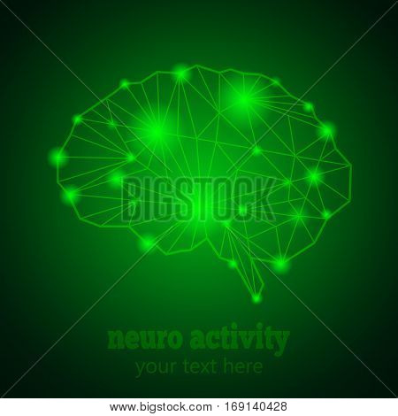 Abstract Human Brain Medical Logo, Neurology Anatomical Conception.Cerebral Geometric Brain and Cerebellum on green luminous background w text Neuro Activity.Brain Thought lights shines as Brain works