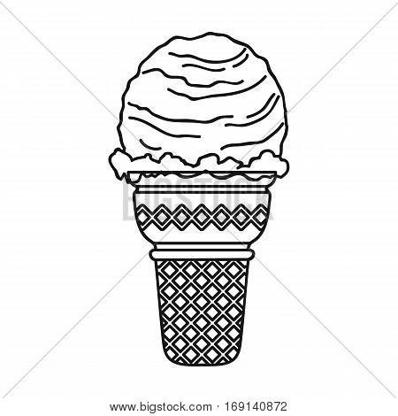 Ice cream in waffle cup icon in outline design isolated on white background. Ice cream symbol stock vector illustration.