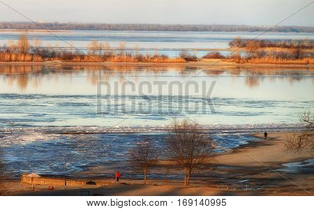 Scenic View Of The River At The Early Spring