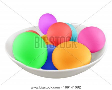 Colorful boiled eggs in the bowl isolated on white background. Clipping path included