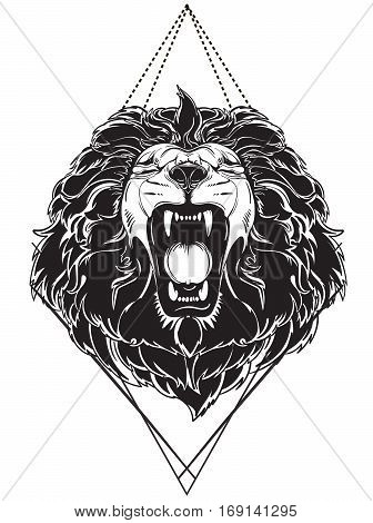 vector roaring lion's head - black and white
