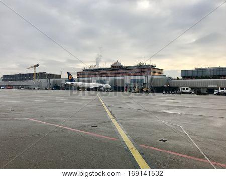 GENEVA - JANUARY 8: Aircraft operations at Geneva International Airport on January 8, 2016 in Geneva, Switzerland.