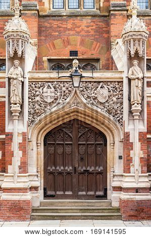 Entrance to the Old Divinity School of St John's College in Cambridge University. Cambridge United Kingdom