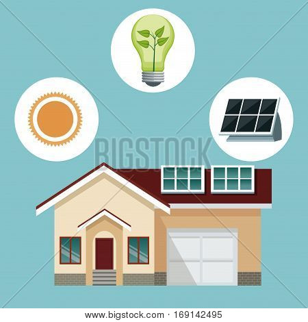 house traditional residence with solar panel-icons ecology vector illustration eps 10