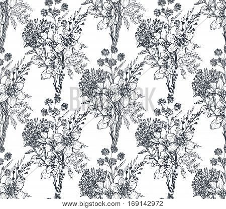 Seamless pattern with hand drawn flowers and plants in sketch style. Monochrome vector endless nature background.