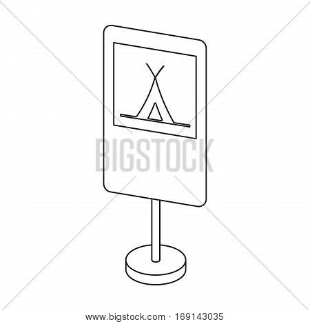 Guide road sign icon in outline design isolated on white background. Road signs symbol stock vector illustration.