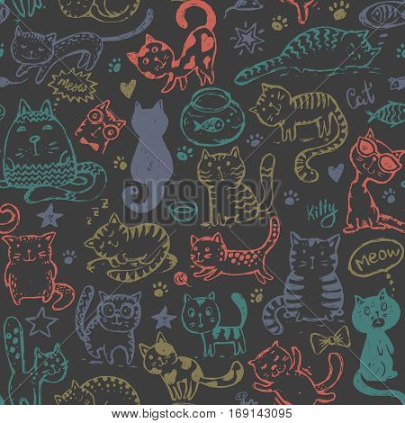 Vector seamless pattern with hand draw funny cats in sketch style. Colorful endless background.