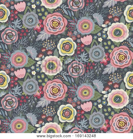Seamless pattern with flowers, leaves, branches and berries. Vector colorful endless floral background. The elegant illustration for fashion prints, fabric, scrapbook.