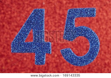 Number forty-five blue color over a red background. Anniversary. Horizontal
