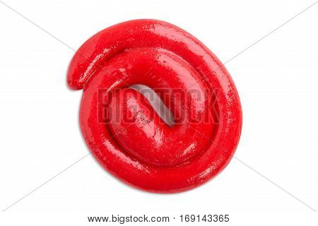 Mucus closeup. Toys for children.Soft mucus. Red slime on a white background