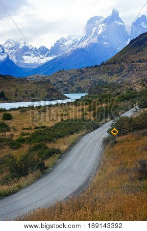 beautiful view in torres del paine national park in patagonia chile view of cuernos del paine and road