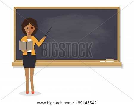 African teacher black professor standing in front of blackboard teaching student in classroom at school college or university. Flat design people character.
