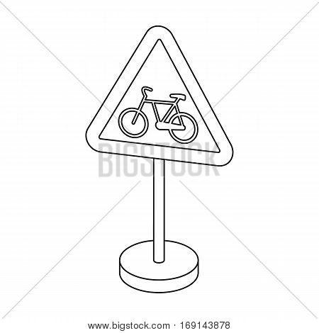 Warning road sign icon in outline design isolated on white background. Road signs symbol stock vector illustration.