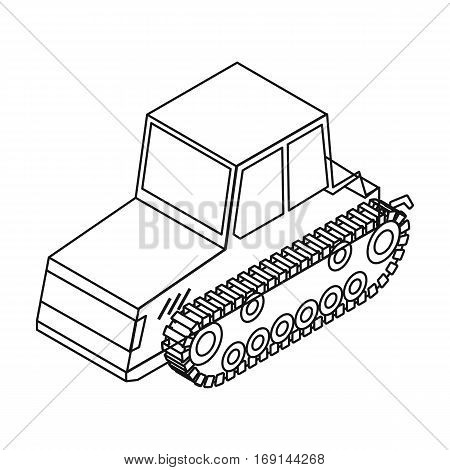 Tracked tractor icon in outline design isolated on white background. Transportation symbol stock vector illustration.