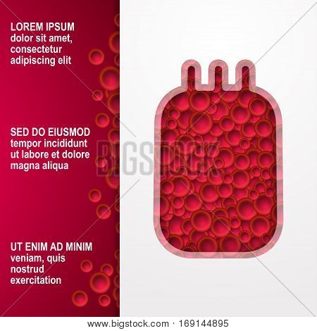 Vector illustration Blood in the whole package for transfusion on white background Red blood cells on red background with space for inscription Paper art