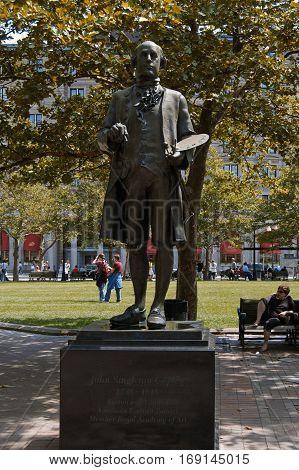 Boston, Massachusetts, US, 25 Jul. 2009: Statue of John Singleton Copley Boston and London Portrait Painter, Member of Royal Academy of Art in Public Park
