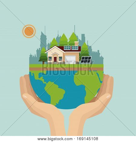 hand holding worl city urban environment vector illustration