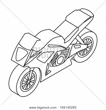 Motorcycle icon in outline design isolated on white background. Transportation symbol stock vector illustration.