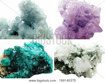 celestite amethyst diopside rock quartz semigem geode crystals geological mineral isolated collage