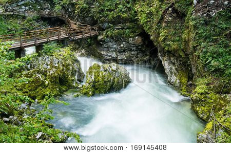 Scenic Vintgar gorge in Slovenia near Bled city