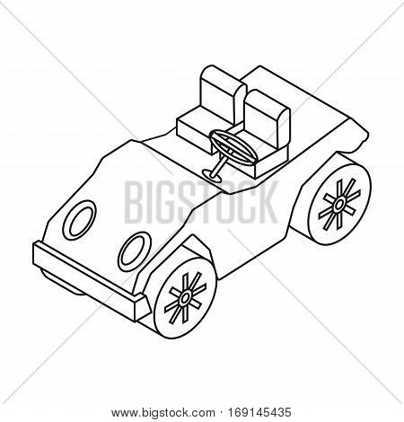 Golf cart icon in outline design isolated on white background. Transportation symbol stock vector illustration.