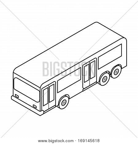 Bus icon in outline design isolated on white background. Transportation symbol stock vector illustration.