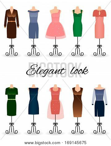 Fashion women dresses in different colors on mannequins. Cocktail dresses. Flat vector illustration.