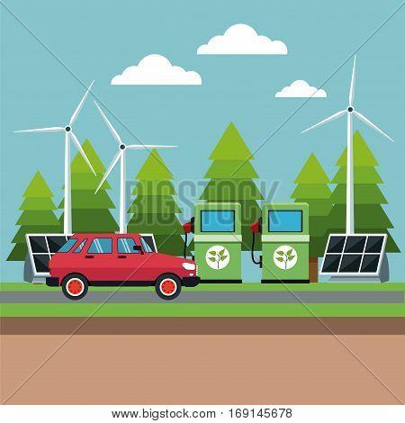 gasoline pump panel solar turbine wind alternative energy vector illustration