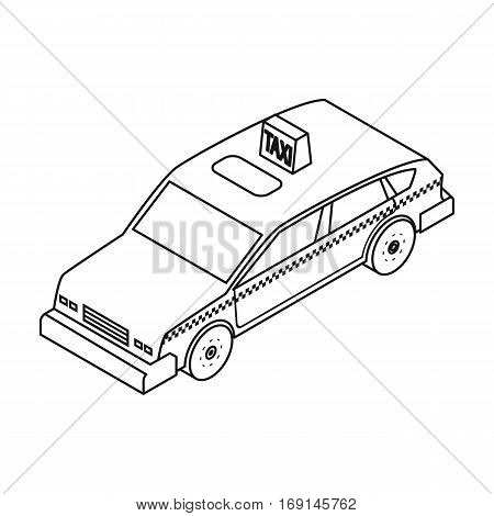 Taxi car icon in outline design isolated on white background. Transportation symbol stock vector illustration.