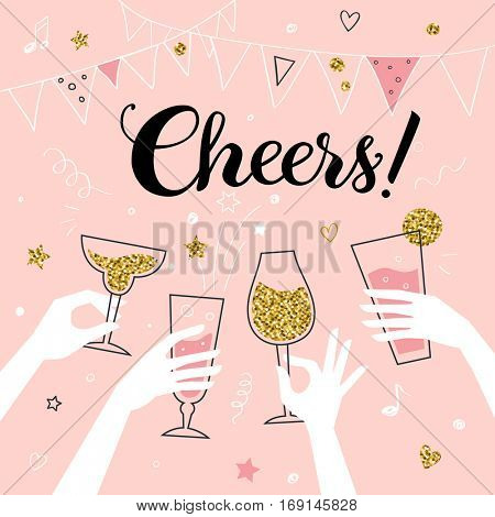 Cocktail party invitation concept template, hands of friends with alcohol drinks making toast vector illustration, â??Cheers!â? title
