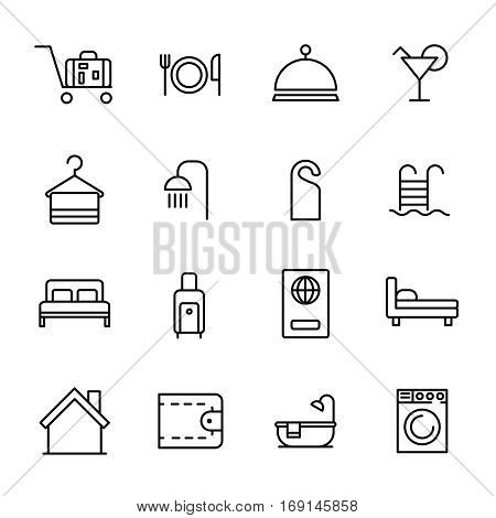 Set of hotel icons in modern thin line style. High quality black outline travel symbols for web site design and mobile apps. Simple hotel pictograms on a white background.