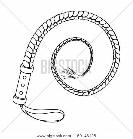 Whip icon in outline design isolated on white background. Rodeo symbol stock vector illustration.