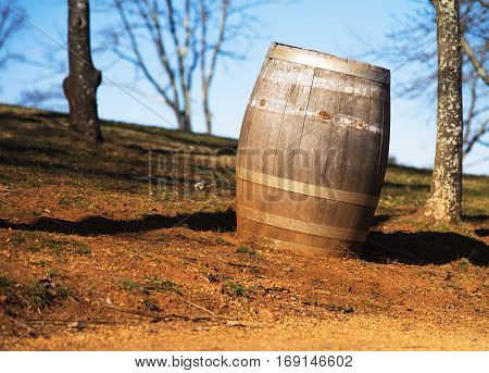 Nineteenth century antique wooden split wine barrel
