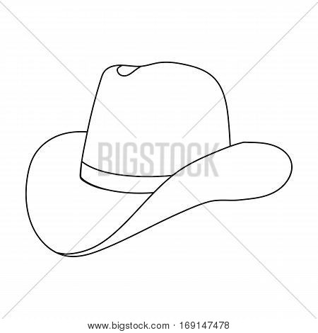Cowboy hat icon in outline design isolated on white background. Rodeo symbol stock vector illustration.