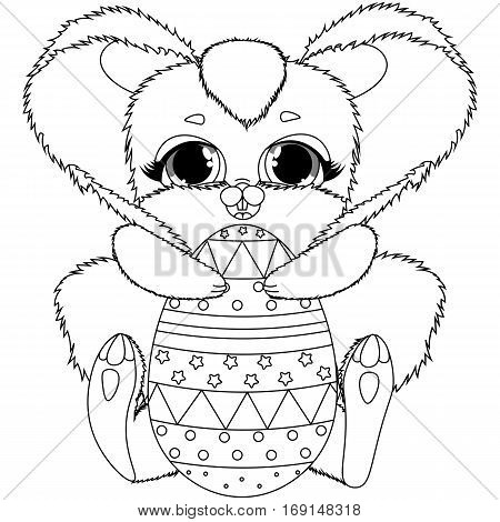 vector black and white coloring Easter bunny and colored eggs, children s cute animal