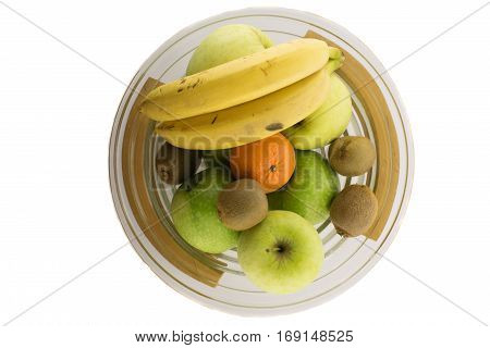 Bawl Full Of Different Fruits On The White Background