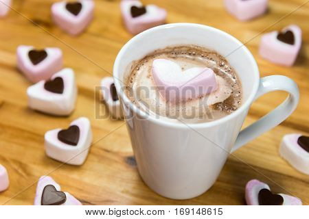 Marshmallow Hearts And Yummy Hot Chocolate Drink. Love Concept.