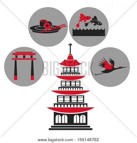 pagoda traditional building japanese architecture emblem icons vector illustration