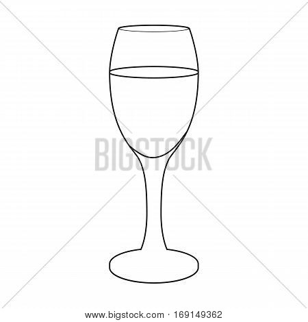 Glass of white wine icon in outline design isolated on white background. Wine production symbol stock vector illustration.