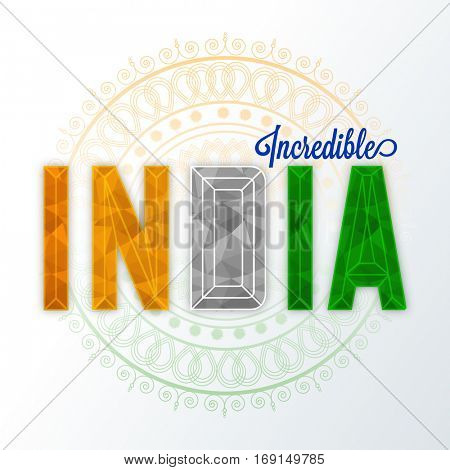 Creative Tricolor Text India on floral design decorated background. Poster, Banner or Flyer for Indian Republic Day celebration.