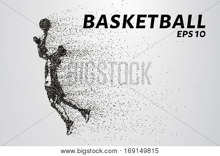 Basketball Of The Particles. A Silhouette Of A Basketball Player Consists Of Circles And Points. Vec