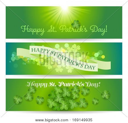 Happy St. Patricks's Day banners with shamrock on a green background, eps10 vector