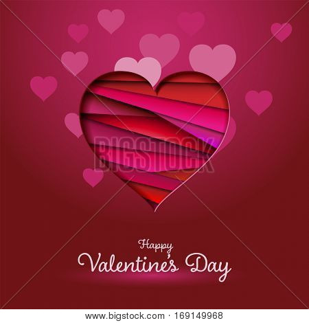 Happy Valentine's Day greeting card, red heart, eps10 vector
