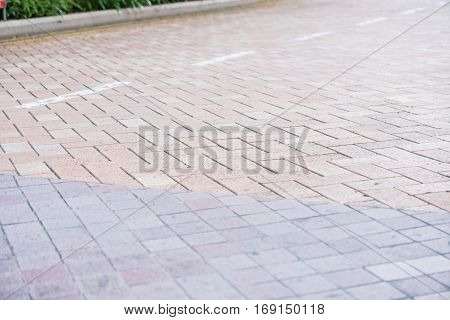 Granite tiles asymmetrical walkway pattern natural walkway