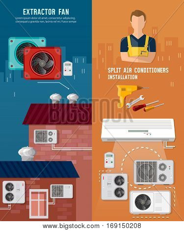 Split system check ventilation systems air conditioner installment and air conditioning repair. Installation of air conditioners banner